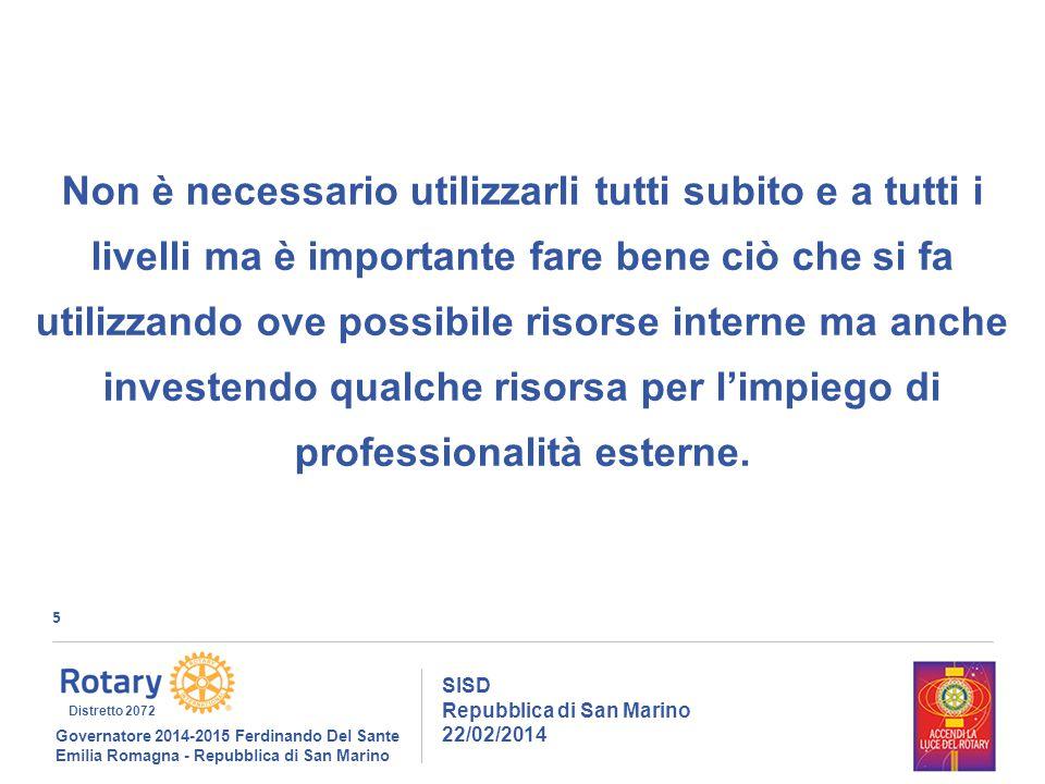6 SISD Repubblica di San Marino 22/02/2014 Governatore 2014-2015 Ferdinando Del Sante Emilia Romagna - Repubblica di San Marino Distretto 2072 Cercheremo di standardizzare metodologie e strumenti per agevolare la continuità, il supporto l'interscambio di dati.