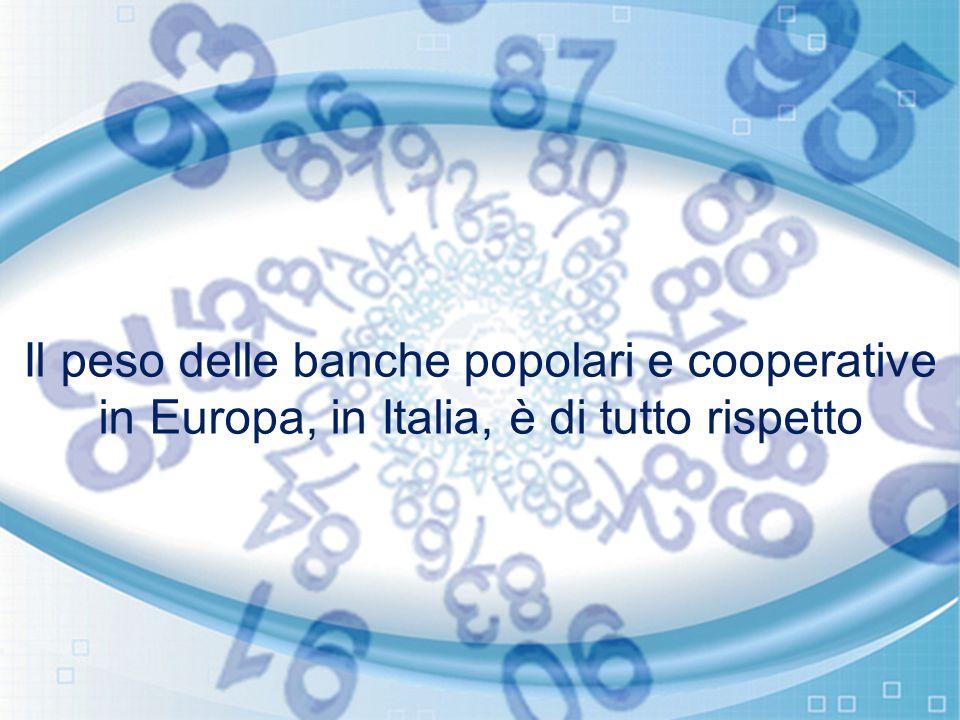 Il peso delle banche popolari e cooperative in Europa, in Italia, è di tutto rispetto