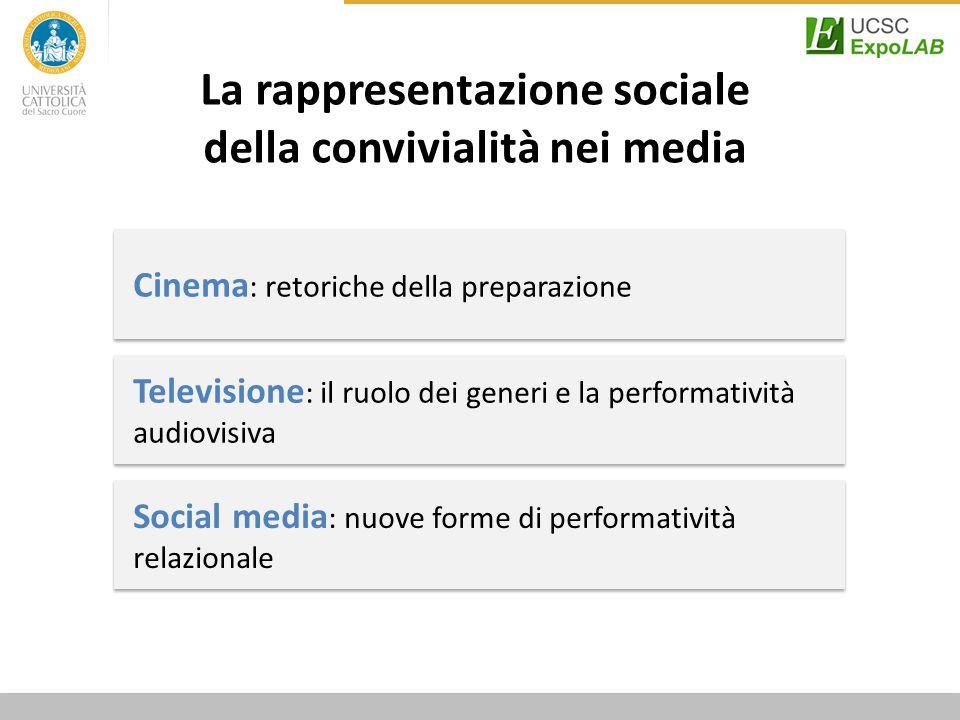 Social media : nuove forme di performatività relazionale Televisione : il ruolo dei generi e la performatività audiovisiva Cinema : retoriche della preparazione La rappresentazione sociale della convivialità nei media