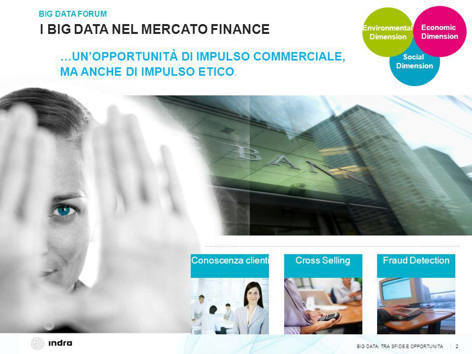 BIG DATA: TRA SFIDE E OPPORTUNITA 2 | BIG DATA FORUM I BIG DATA NEL MERCATO FINANCE Cross SellingFraud DetectionConoscenza clienti Social Dimension Environmental Dimension Economic Dimension …UN'OPPORTUNITÀ DI IMPULSO COMMERCIALE, MA ANCHE DI IMPULSO ETICO.