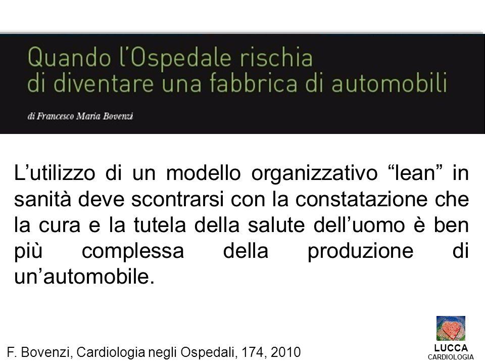 """F. Bovenzi, Cardiologia negli Ospedali, 174, 2010 L'utilizzo di un modello organizzativo """"lean"""" in sanità deve scontrarsi con la constatazione che la"""