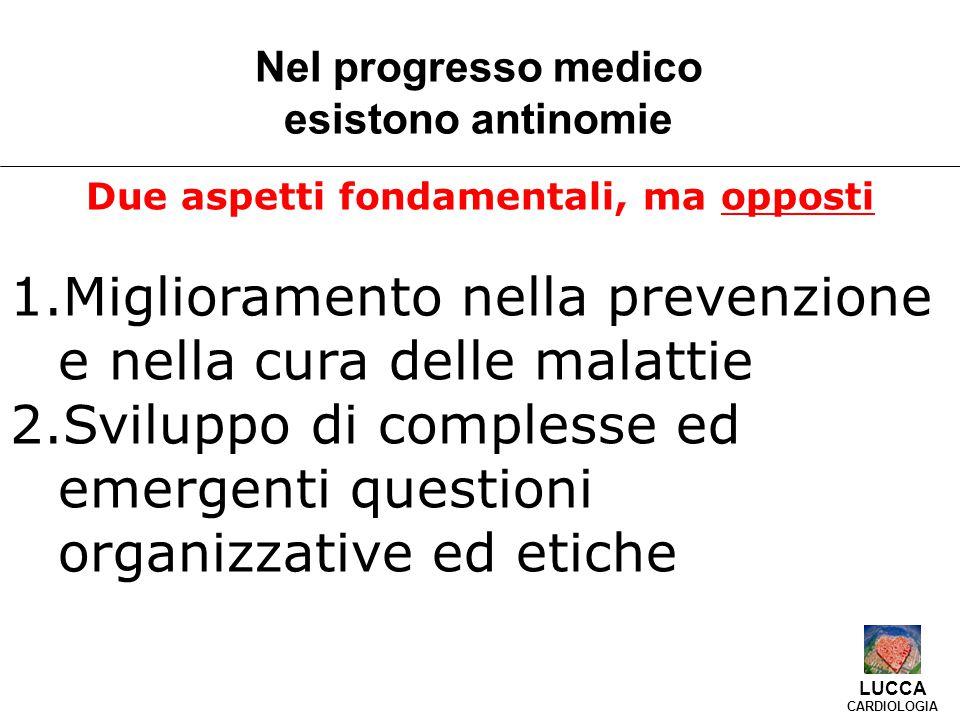 Due aspetti fondamentali, ma opposti 1.Miglioramento nella prevenzione e nella cura delle malattie 2.Sviluppo di complesse ed emergenti questioni organizzative ed etiche Nel progresso medico esistono antinomie LUCCA CARDIOLOGIA