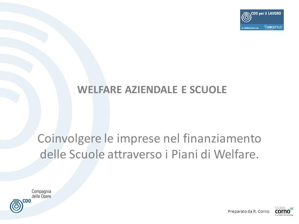 Preparato da R. Corno Coinvolgere le imprese nel finanziamento delle Scuole attraverso i Piani di Welfare. WELFARE AZIENDALE E SCUOLE