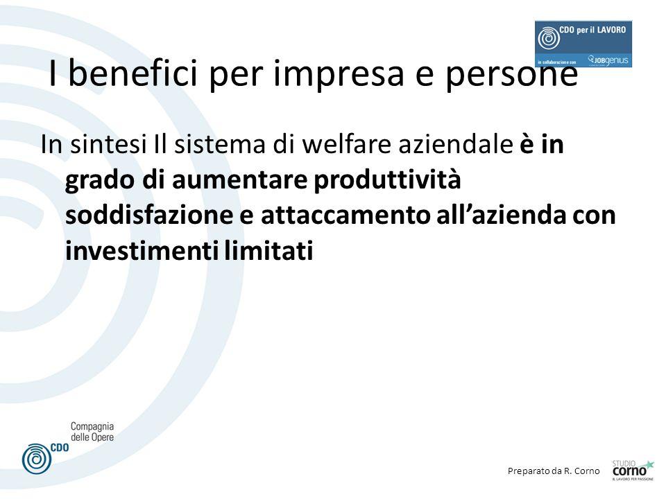 I benefici per impresa e persone In sintesi Il sistema di welfare aziendale è in grado di aumentare produttività soddisfazione e attaccamento all'azie