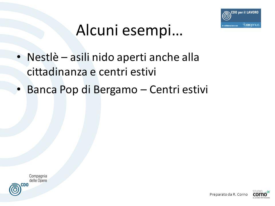 Preparato da R. Corno Alcuni esempi… Nestlè – asili nido aperti anche alla cittadinanza e centri estivi Banca Pop di Bergamo – Centri estivi