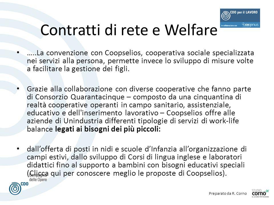 Preparato da R. Corno Contratti di rete e Welfare …..La convenzione con Coopselios, cooperativa sociale specializzata nei servizi alla persona, permet