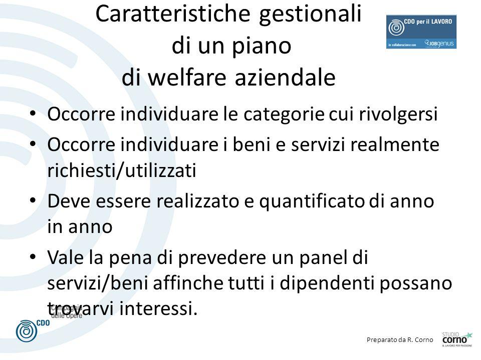 Preparato da R. Corno Caratteristiche gestionali di un piano di welfare aziendale Occorre individuare le categorie cui rivolgersi Occorre individuare
