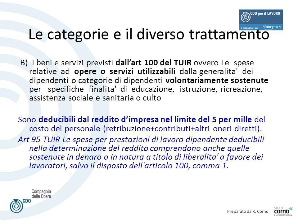 Preparato da R. Corno Le categorie e il diverso trattamento B) I beni e servizi previsti dall'art 100 del TUIR ovvero Le spese relative ad opere o ser