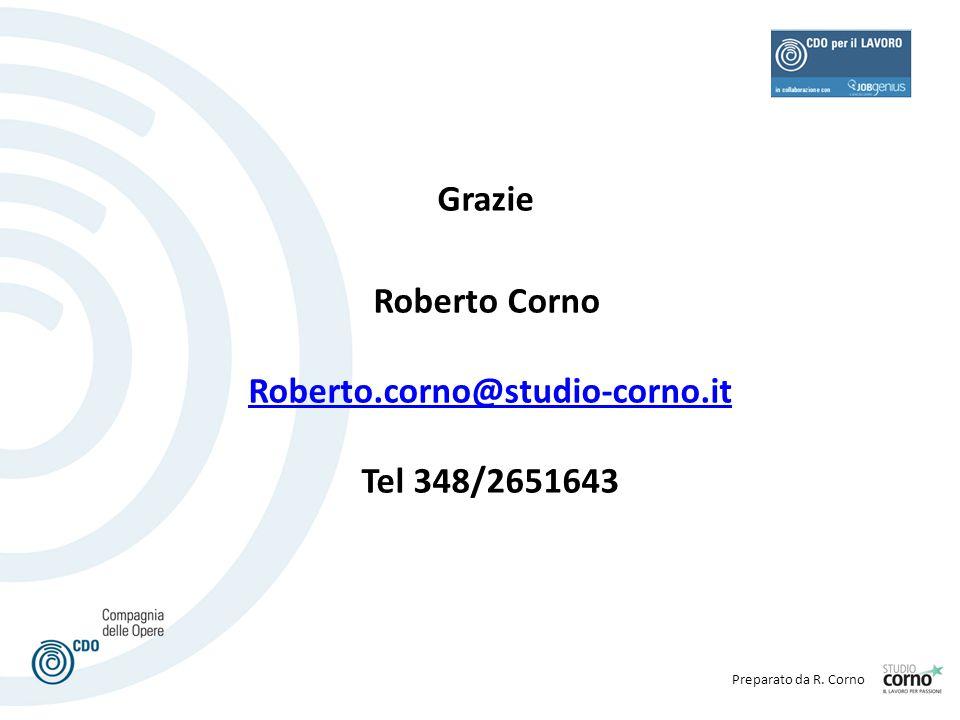 Preparato da R. Corno Grazie Roberto Corno Roberto.corno@studio-corno.it Tel 348/2651643