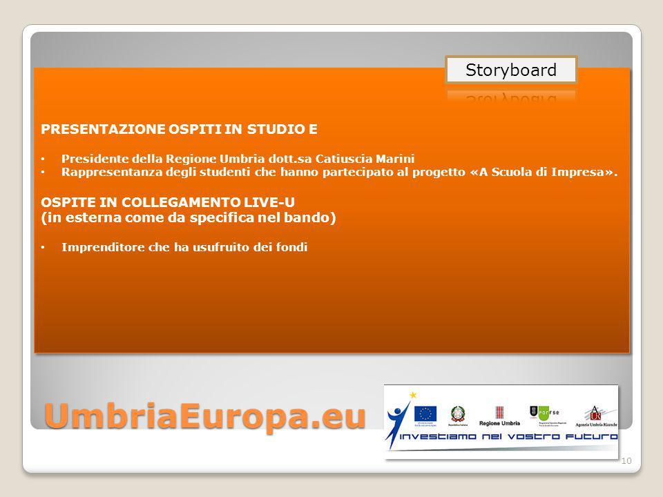 UmbriaEuropa.eu 10 PRESENTAZIONE OSPITI IN STUDIO E Presidente della Regione Umbria dott.sa Catiuscia Marini Rappresentanza degli studenti che hanno partecipato al progetto «A Scuola di Impresa».