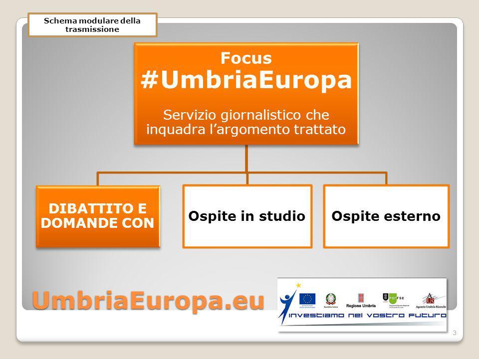UmbriaEuropa.eu Focus #UmbriaEuropa Servizio giornalistico che inquadra l'argomento trattato DIBATTITO E DOMANDE CON Ospite in studioOspite esterno 3 Schema modulare della trasmissione