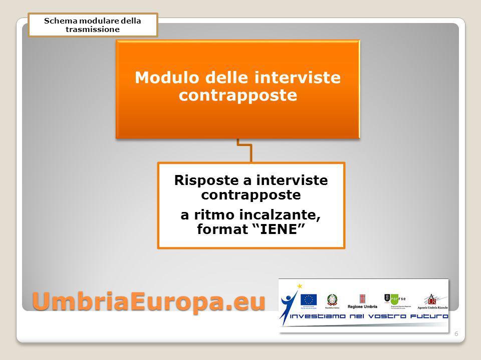UmbriaEuropa.eu Modulo delle interviste contrapposte Risposte a interviste contrapposte a ritmo incalzante, format IENE 6 Schema modulare della trasmissione