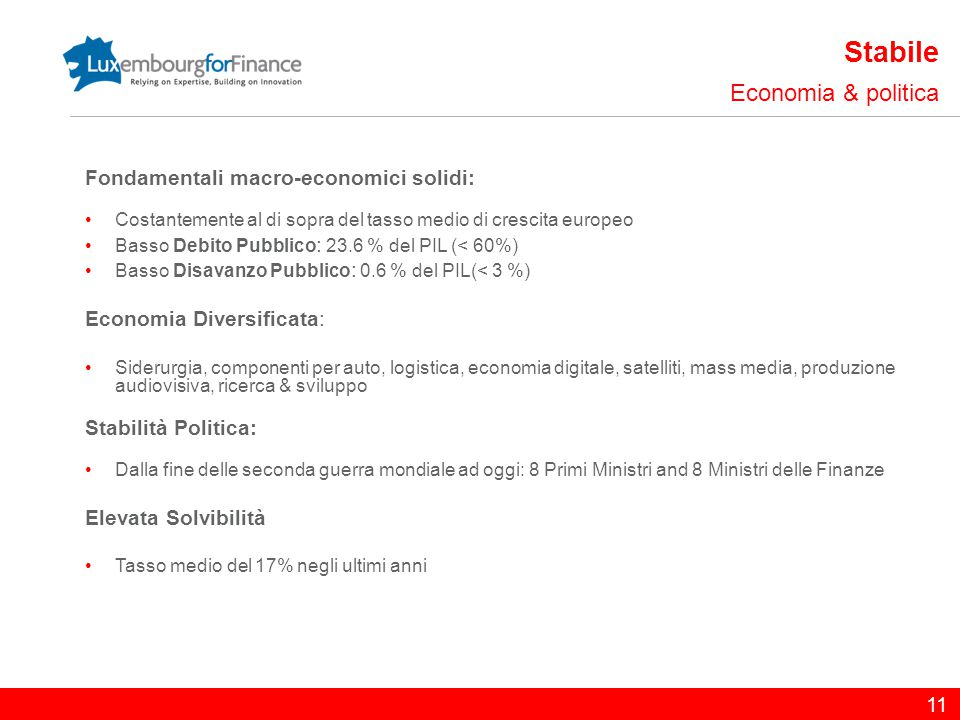 11 Stabile Economia & politica Fondamentali macro-economici solidi: Costantemente al di sopra del tasso medio di crescita europeo Basso Debito Pubblic