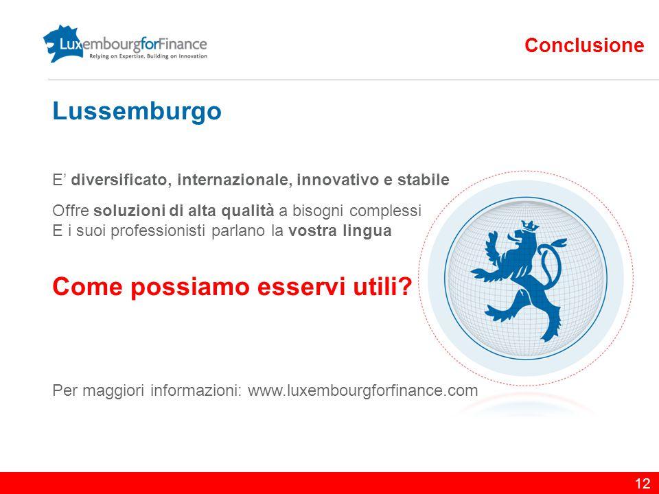 12 Conclusione Lussemburgo E' diversificato, internazionale, innovativo e stabile Offre soluzioni di alta qualità a bisogni complessi E i suoi profess