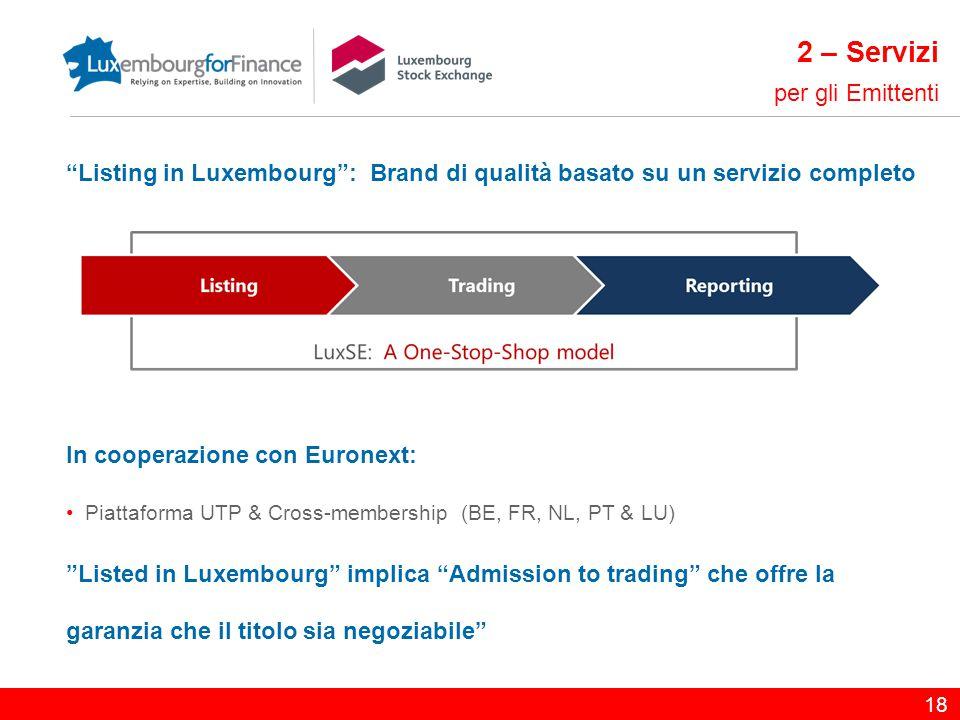 """""""Listing in Luxembourg"""": Brand di qualità basato su un servizio completo In cooperazione con Euronext: Piattaforma UTP & Cross-membership (BE, FR, NL,"""