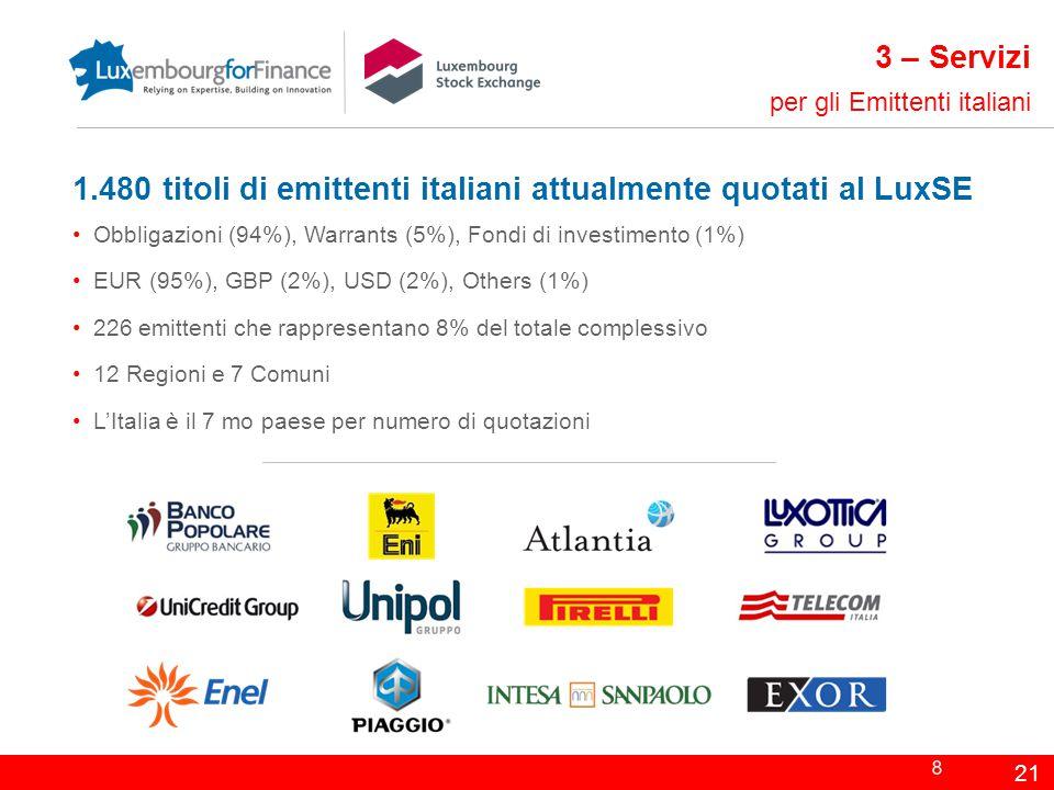 1.480 titoli di emittenti italiani attualmente quotati al LuxSE Obbligazioni (94%), Warrants (5%), Fondi di investimento (1%) EUR (95%), GBP (2%), USD