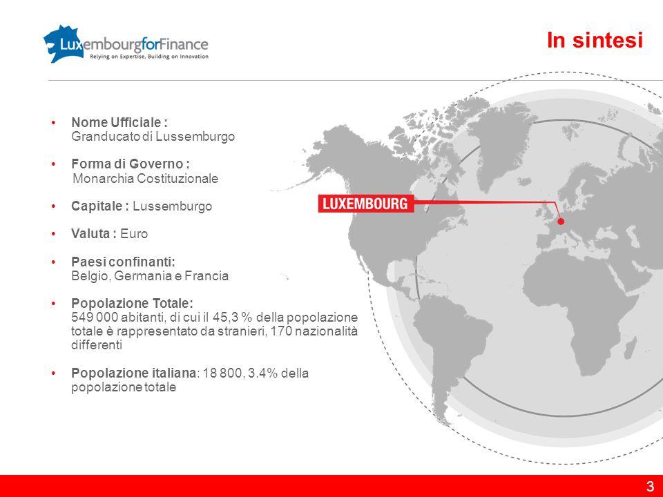 4 Benvenuti a Lussemburgo Posizione strategica nel cuore dell'Europa Popolazione attiva altamente qualificata, multiculturale e poliglotta Rating AAA da parte delle tre maggiori agenzie di rating internazionali Importante centro finanziario dell'Eurozona (GFCI ranking: #15) Capitale più sicura d'Europa (Mercer 2012) Elevata qualità di vita che attrae professionisti da tutto il mondo Sede di Istituzioni Europee : Corte di Giustizia, Corte dei Conti, Parlamento Europeo, Banca Europea degli Investimenti, Fondo Europeo degli Investimenti, Meccanismo Europeo di Stabilità Un Governo stabile, efficiente e orientato al business è la chiave del successo del Lussemburgo Wang Hongzhang, Chairman di China Construction Bank