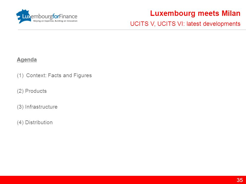 Agenda (1)Context: Facts and Figures (2) Products (3) Infrastructure (4) Distribution 35 UCITS V, UCITS VI: latest developments Luxembourg meets Milan