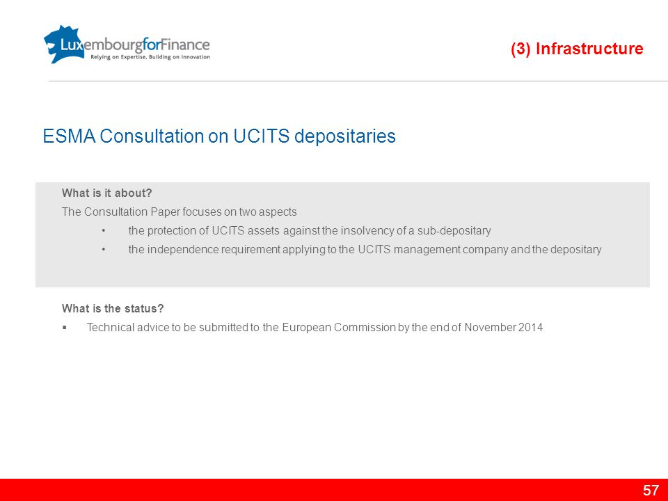 57 What is it about? The Consultation Paper focuses on two aspects the protection of UCITS assets against the insolvency of a sub-depositary the indep