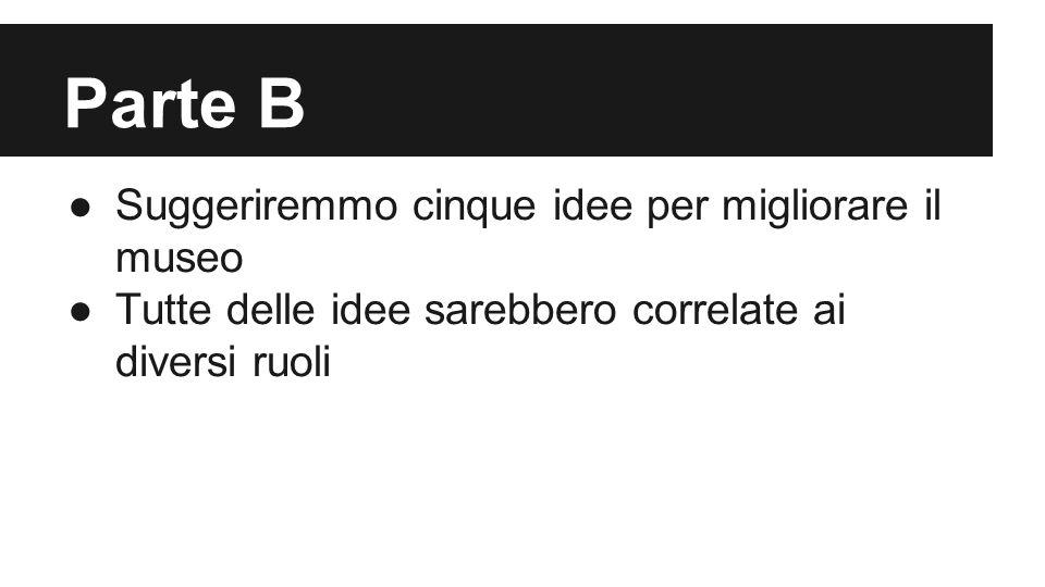 Parte B ●Suggeriremmo cinque idee per migliorare il museo ●Tutte delle idee sarebbero correlate ai diversi ruoli