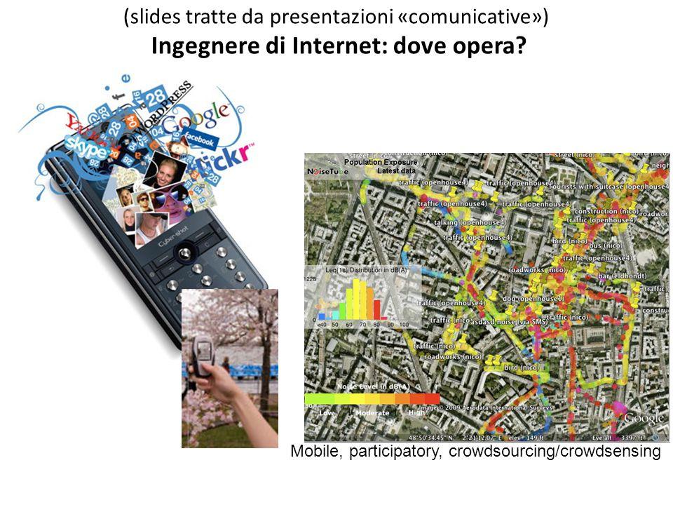 Mobile, participatory, crowdsourcing/crowdsensing (slides tratte da presentazioni «comunicative») Ingegnere di Internet: dove opera?