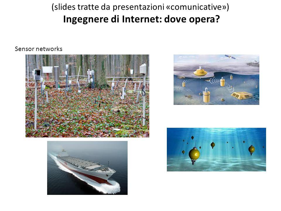 Sensor networks (slides tratte da presentazioni «comunicative») Ingegnere di Internet: dove opera?