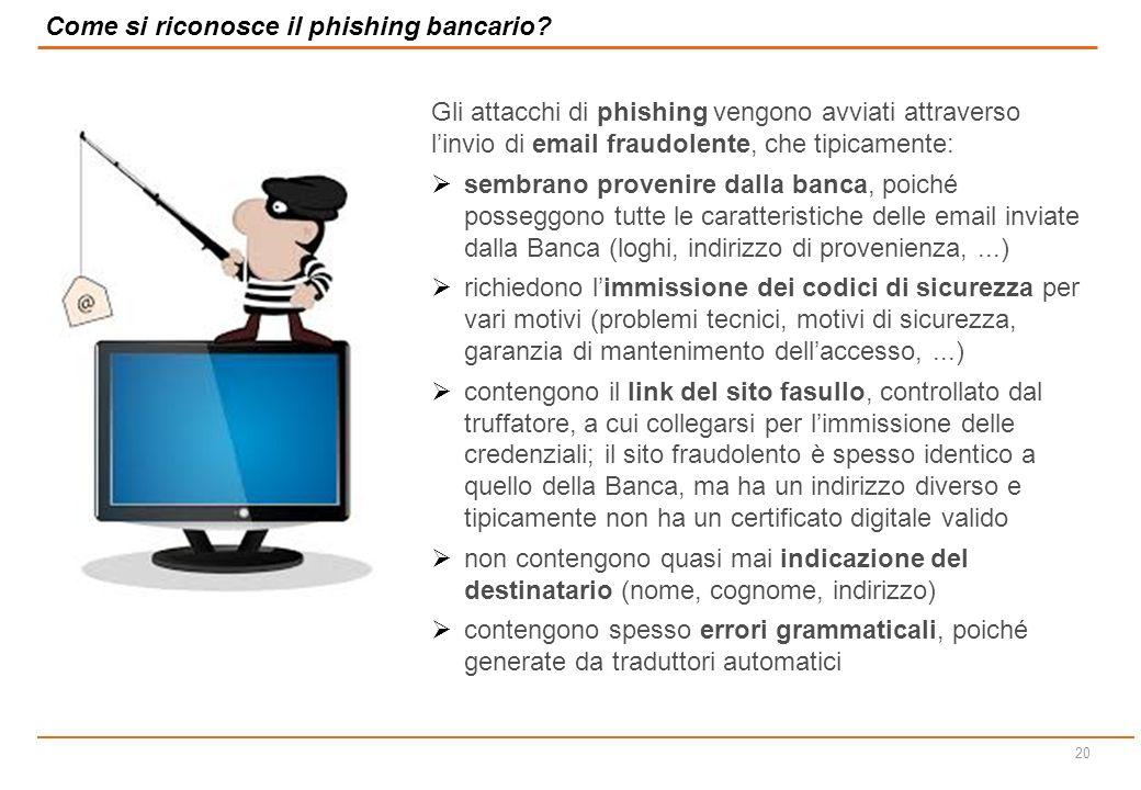 19 Diffusione (spamming) di e-mail trappola a (poste, banche ecc) SERVER Italia/estero Confluenza dei dati catturati Account di posta elettronica P.C.