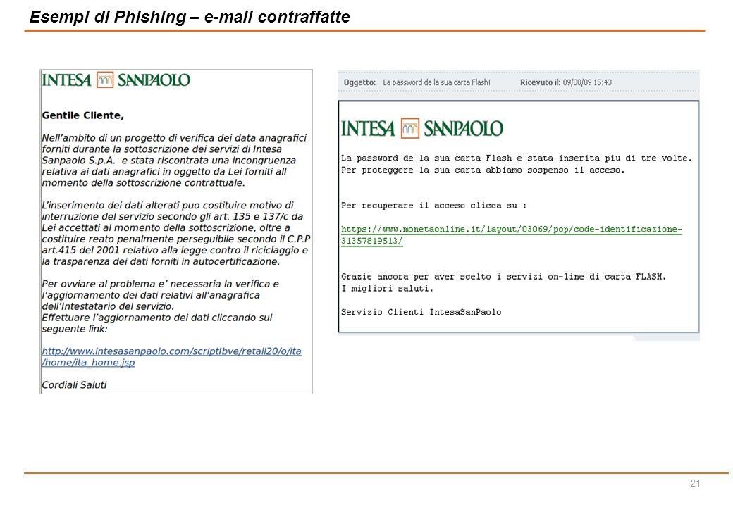 20 Gli attacchi di phishing vengono avviati attraverso l'invio di email fraudolente, che tipicamente:  sembrano provenire dalla banca, poiché possegg