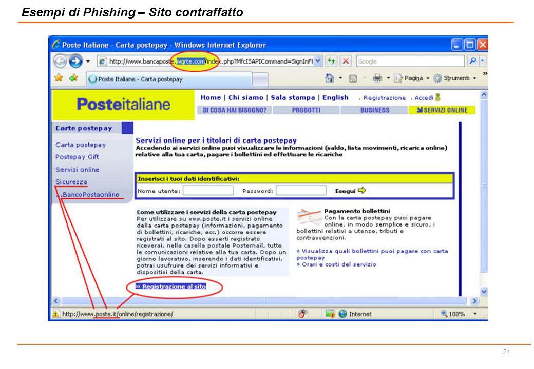 23 Esempi di Phishing – Sito contraffatto