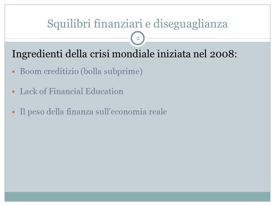 Squilibri finanziari e diseguaglianza Ingredienti della crisi mondiale iniziata nel 2008:  Boom creditizio (bolla subprime)  Lack of Financial Education  Il peso della finanza sull'economia reale 2