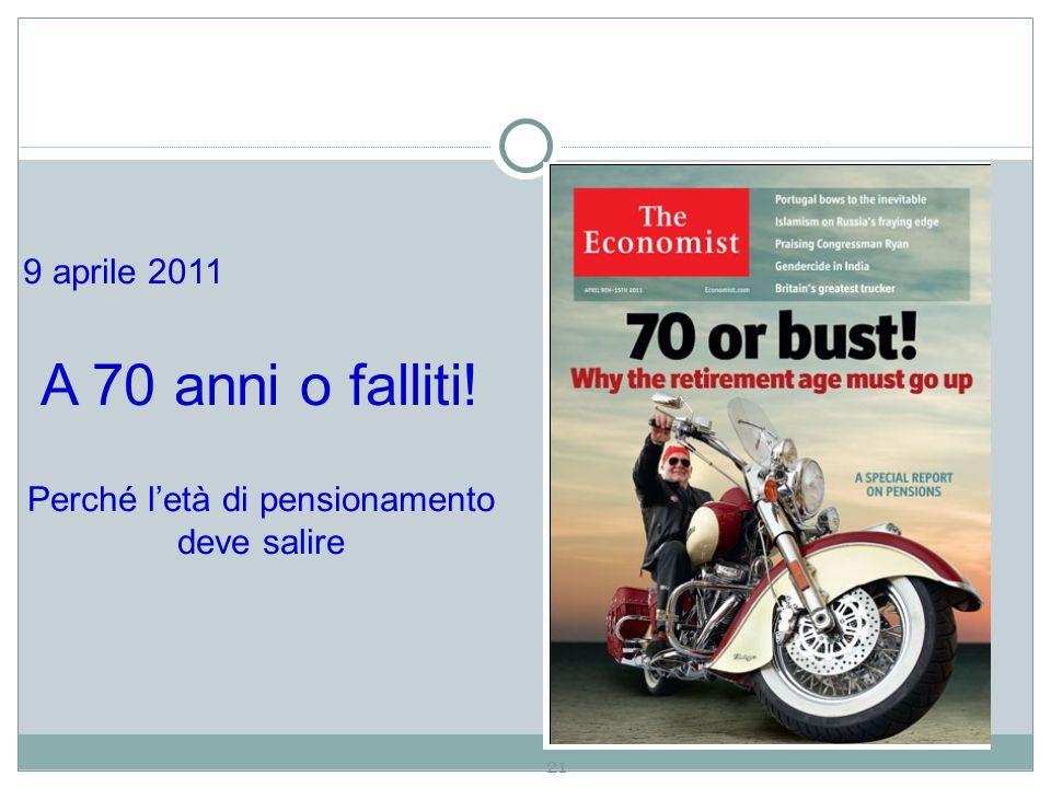 21 9 aprile 2011 A 70 anni o falliti! Perché l'età di pensionamento deve salire