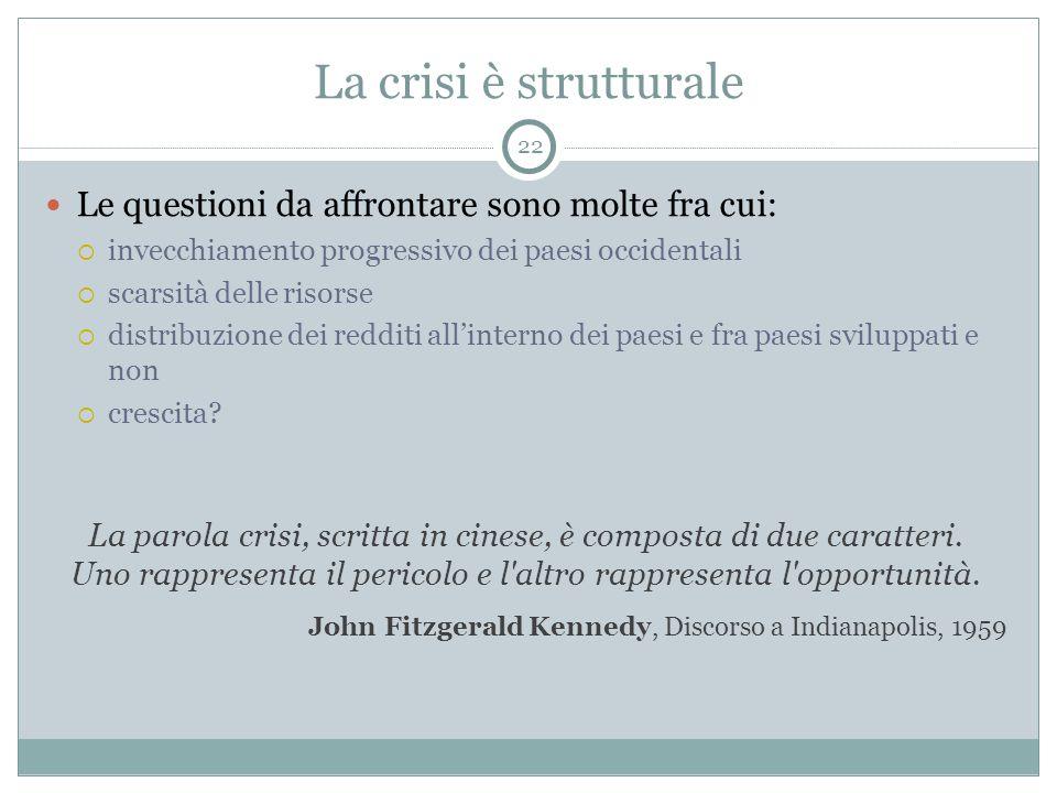 La crisi è strutturale Le questioni da affrontare sono molte fra cui:  invecchiamento progressivo dei paesi occidentali  scarsità delle risorse  di