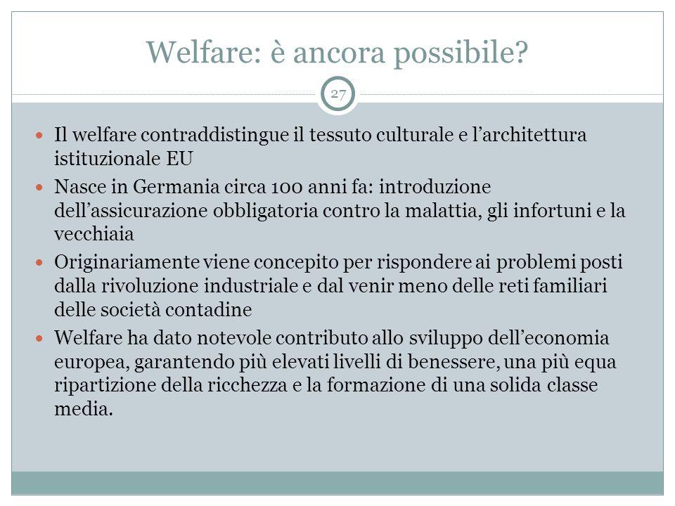 Welfare: è ancora possibile? Il welfare contraddistingue il tessuto culturale e l'architettura istituzionale EU Nasce in Germania circa 100 anni fa: i