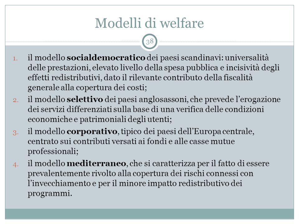 Modelli di welfare 1. il modello socialdemocratico dei paesi scandinavi: universalità delle prestazioni, elevato livello della spesa pubblica e incisi