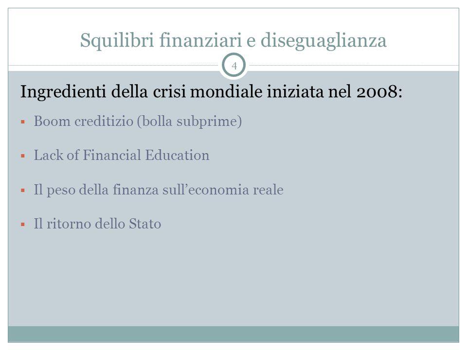 Squilibri finanziari e diseguaglianza Ingredienti della crisi mondiale iniziata nel 2008:  Boom creditizio (bolla subprime)  Lack of Financial Education  Il peso della finanza sull'economia reale  Il ritorno dello Stato 4