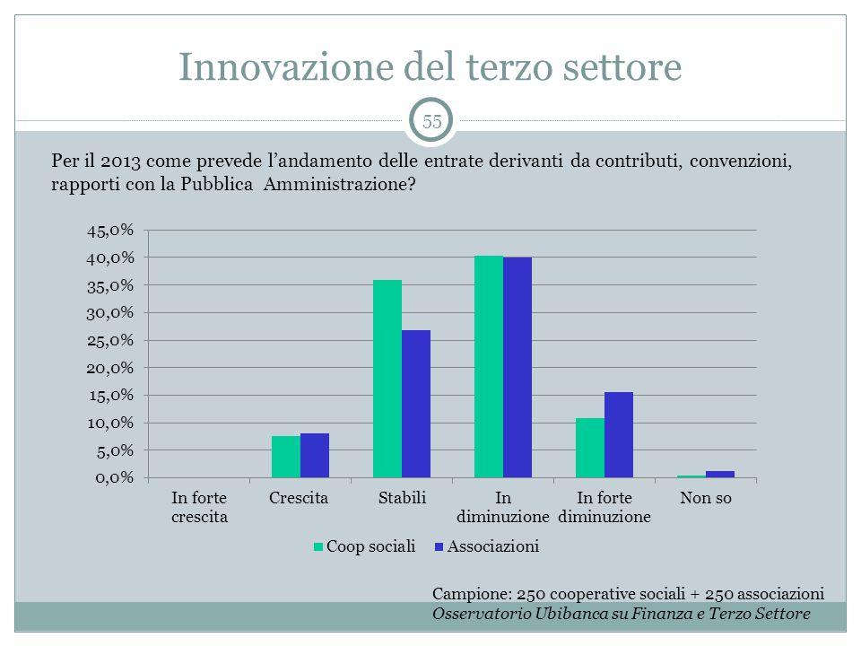 Innovazione del terzo settore 55 Campione: 250 cooperative sociali + 250 associazioni Osservatorio Ubibanca su Finanza e Terzo Settore Per il 2013 com