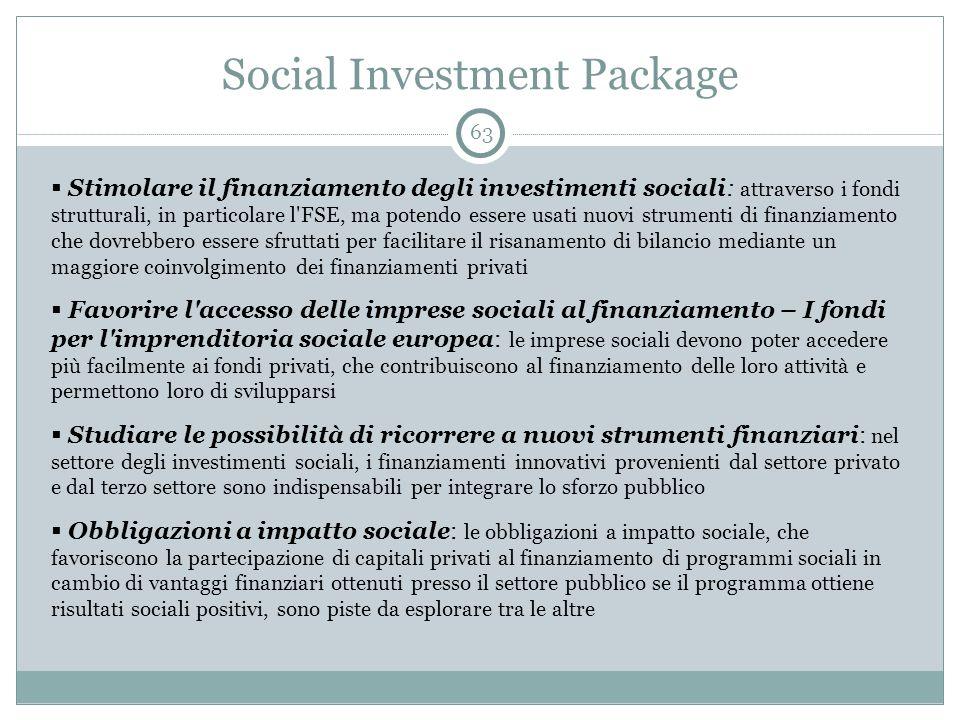 Social Investment Package 63  Stimolare il finanziamento degli investimenti sociali: attraverso i fondi strutturali, in particolare l FSE, ma potendo essere usati nuovi strumenti di finanziamento che dovrebbero essere sfruttati per facilitare il risanamento di bilancio mediante un maggiore coinvolgimento dei finanziamenti privati  Favorire l accesso delle imprese sociali al finanziamento – I fondi per l imprenditoria sociale europea: le imprese sociali devono poter accedere più facilmente ai fondi privati, che contribuiscono al finanziamento delle loro attività e permettono loro di svilupparsi  Studiare le possibilità di ricorrere a nuovi strumenti finanziari: nel settore degli investimenti sociali, i finanziamenti innovativi provenienti dal settore privato e dal terzo settore sono indispensabili per integrare lo sforzo pubblico  Obbligazioni a impatto sociale: le obbligazioni a impatto sociale, che favoriscono la partecipazione di capitali privati al finanziamento di programmi sociali in cambio di vantaggi finanziari ottenuti presso il settore pubblico se il programma ottiene risultati sociali positivi, sono piste da esplorare tra le altre