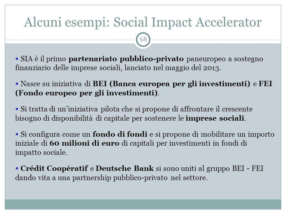 Alcuni esempi: Social Impact Accelerator 68  SIA è il primo partenariato pubblico-privato paneuropeo a sostegno finanziario delle imprese sociali, lanciato nel maggio del 2013.
