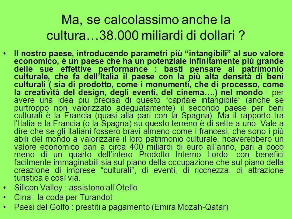 Ma, se calcolassimo anche la cultura…38.000 miliardi di dollari .
