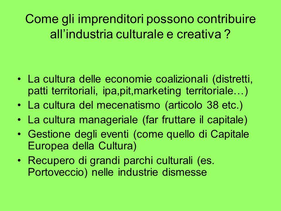 Come gli imprenditori possono contribuire all'industria culturale e creativa .
