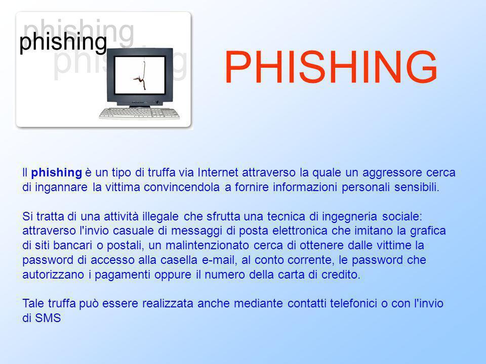 ll phishing è un tipo di truffa via Internet attraverso la quale un aggressore cerca di ingannare la vittima convincendola a fornire informazioni pers