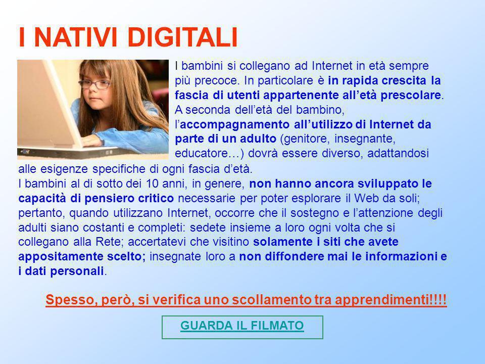 Con la pre-adolescenza e l'adolescenza l'accesso ad Internet diventa massiccio.