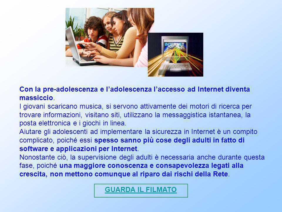 Con la pre-adolescenza e l'adolescenza l'accesso ad Internet diventa massiccio. I giovani scaricano musica, si servono attivamente dei motori di ricer