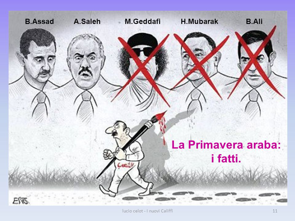 B.AssadA.SalehM.GeddafiH.MubarakB.Ali La Primavera araba: i fatti. lucio celot - I nuovi Califfi11