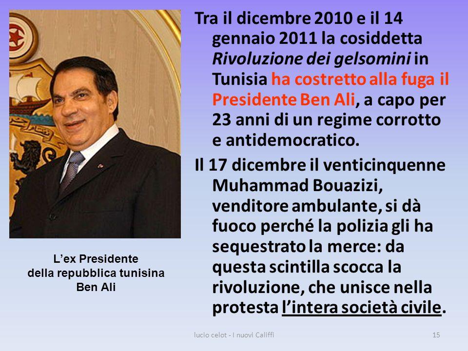 Tra il dicembre 2010 e il 14 gennaio 2011 la cosiddetta Rivoluzione dei gelsomini in Tunisia ha costretto alla fuga il Presidente Ben Ali, a capo per 23 anni di un regime corrotto e antidemocratico.