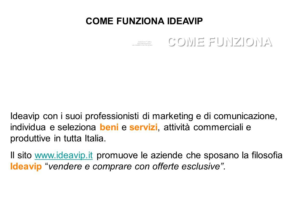 COME FUNZIONA IDEAVIP Ideavip con i suoi professionisti di marketing e di comunicazione, individua e seleziona beni e servizi, attività commerciali e produttive in tutta Italia.