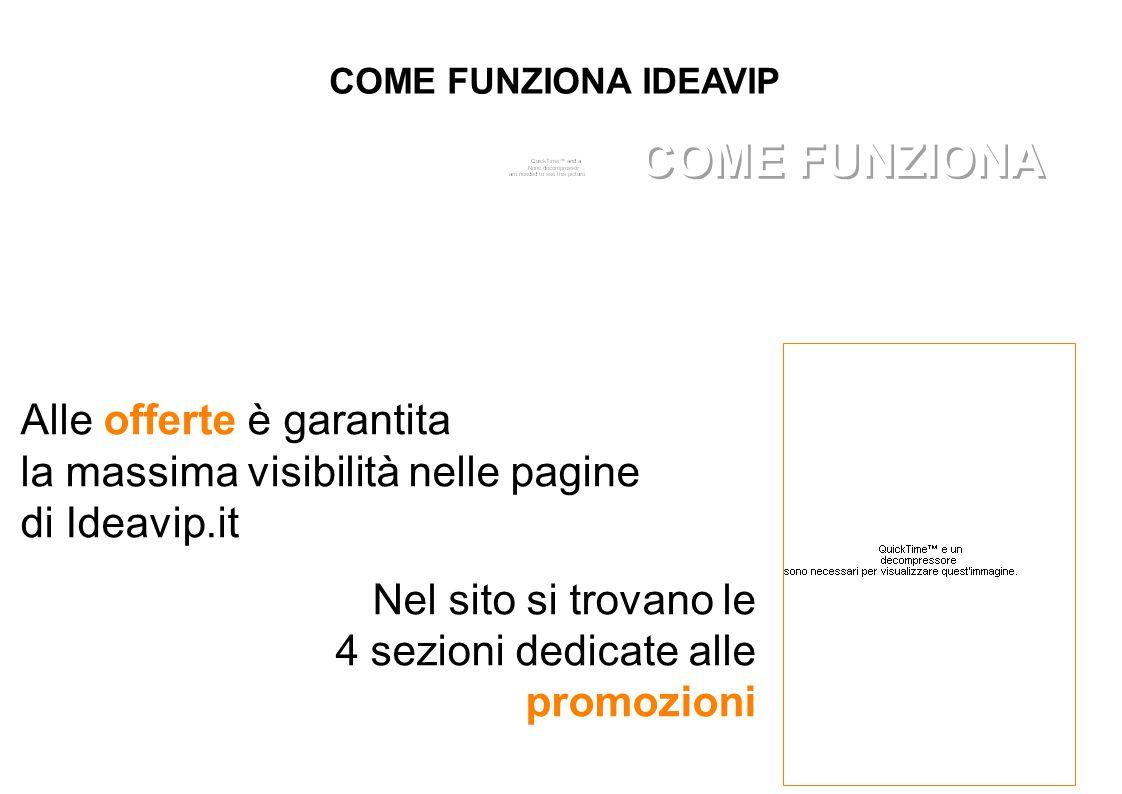 COME FUNZIONA IDEAVIP Alle offerte è garantita la massima visibilità nelle pagine di Ideavip.it Nel sito si trovano le 4 sezioni dedicate alle promozioni COME FUNZIONA
