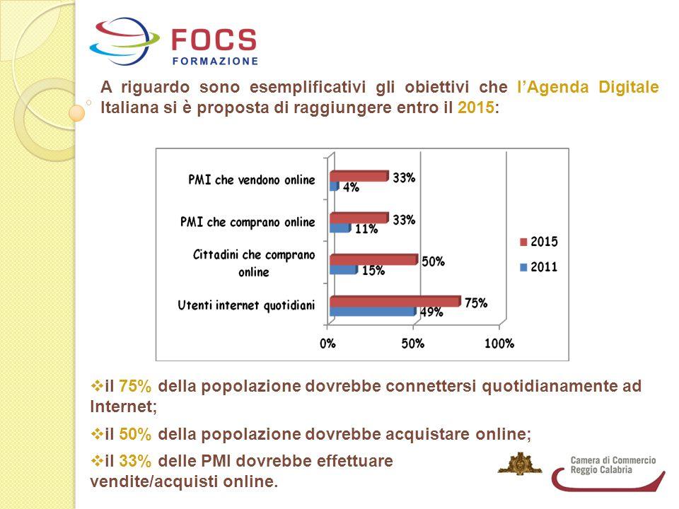 A riguardo sono esemplificativi gli obiettivi che l'Agenda Digitale Italiana si è proposta di raggiungere entro il 2015:  il 75% della popolazione dovrebbe connettersi quotidianamente ad Internet;  il 50% della popolazione dovrebbe acquistare online;  il 33% delle PMI dovrebbe effettuare vendite/acquisti online.