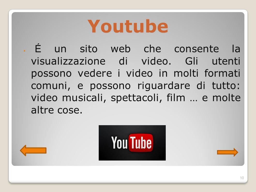Youtube É un sito web che consente la visualizzazione di video. Gli utenti possono vedere i video in molti formati comuni, e possono riguardare di tut