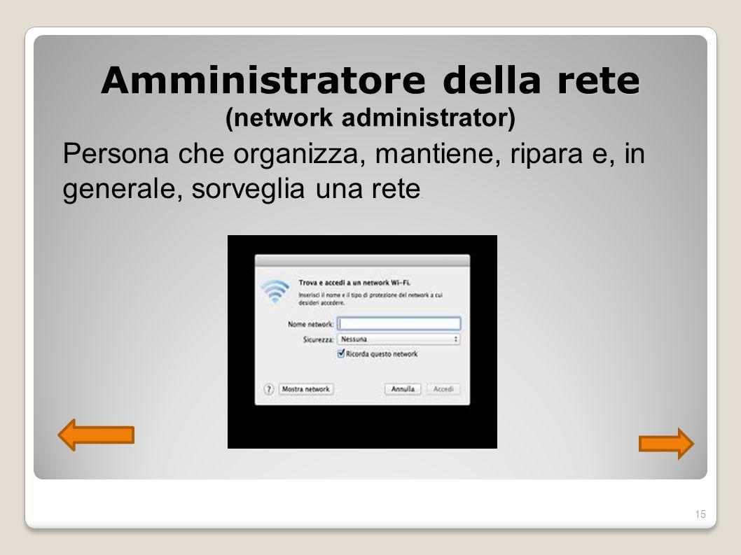 Amministratore della rete (network administrator) Persona che organizza, mantiene, ripara e, in generale, sorveglia una rete. 15